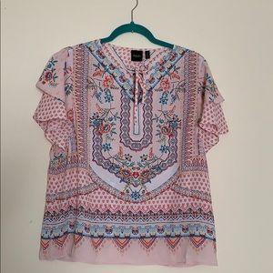 Floral flutter sleeve blouse